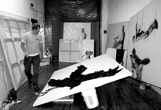 Marc Seguin at work in his Brooklyn studio.
