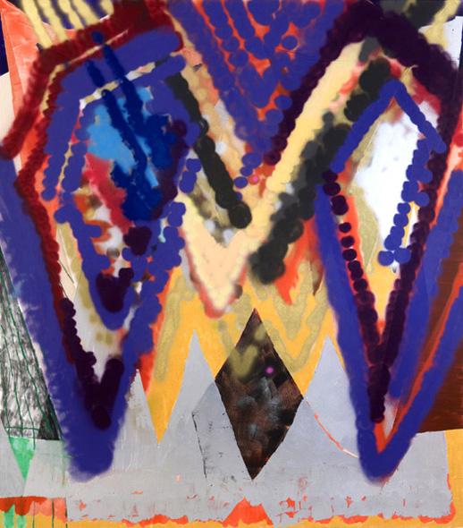 ''Aviator,'' 2008. Oil, acrylic & spray-paint on canvas. 80 x 70 in. / 203 x 178 cm.