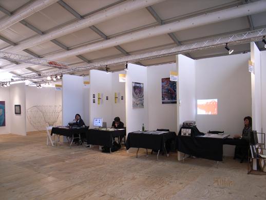Media Booths. From the left, NY Art Beat, Artlog, Wynwood, Aspect.