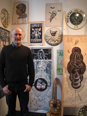 John Strutton with his works at DOMOBAAL.