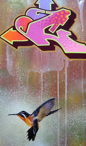 "HummingCee 11"" x 20"" Mixed Media on Wood"