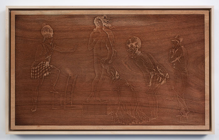 ''The Curious in Ecstasy,'' laser engraved mahogany. Hank Willis Thomas, © Jack Shainman Gallery, New York