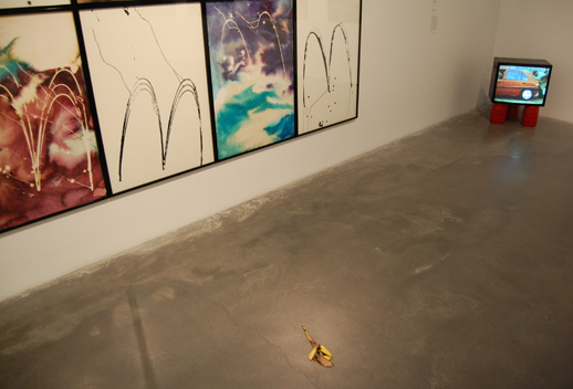 Works by Ida Ekblad, Adriana Lara, and Ahmet Öğüt.