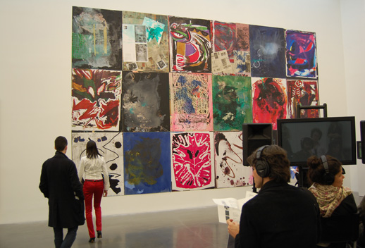 ''Large Collage (New Museum)'' by Josh Smith with James Richards ''Active Negative Programme'' in the foreground.