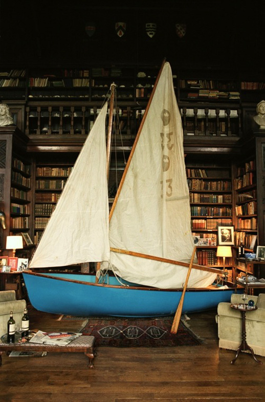 Tim Walker, ''Boat in Library, Chanters House, Devon, England'' (2002). C-print. Image courtesy of Jen Bekman Gallery.