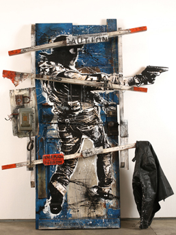 WK Interact, ''99 Crosby Street,'' collage and mixed media on found door. 83 x 66 1/2 x 10 in. Courtesy Jonathan LeVine Gallery.