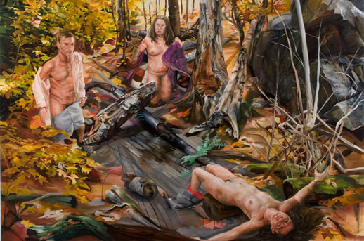 Marissa Bluestone, ''Moments in the Shadows'' (2009). Oil on canvas, 72'' x 90''. Courtesy Heist Gallery.