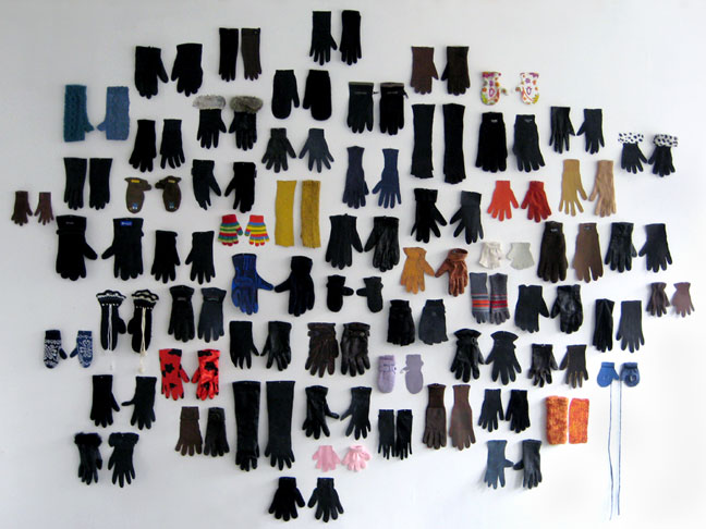 Las Hermanas Iglesias, ''Lost Glove'' (2009). Collection of 62 single gloves found in Paris (October 2008-April 2009) and gouache on paper, variable - Curator Jose Ruiz. Image courtesy of PPOW Gallery.