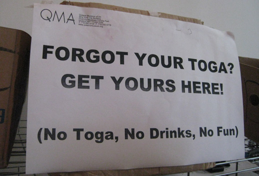 Free togas. Photo by Jennifer Orbom.