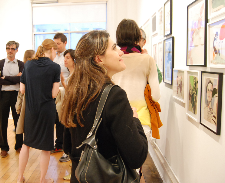 Gallery goers at the opening reception of ''The Passengers.'' Image courtesy gallery hanahou.