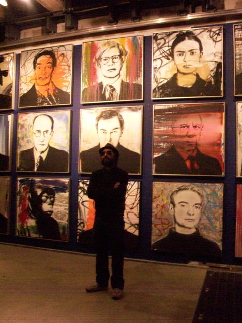 Mr. Brainwash at the opening for 'Icons'