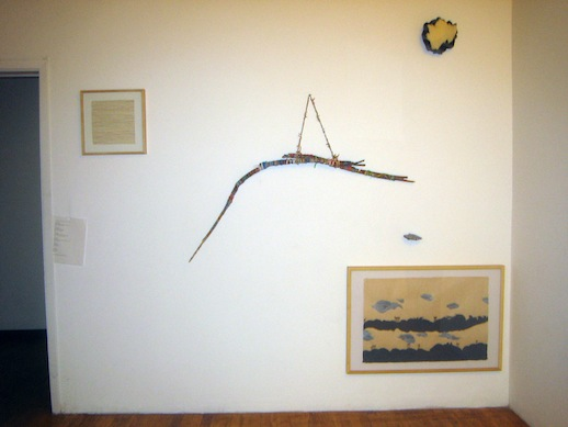 Tussie Mussie by Ronni Kimm, left (clockwise): Jamison Ogg (also far right), Alyssa Gorelick (sculptural works in middle), Jeff Degolier (top) & Katy Fischer (bottom)