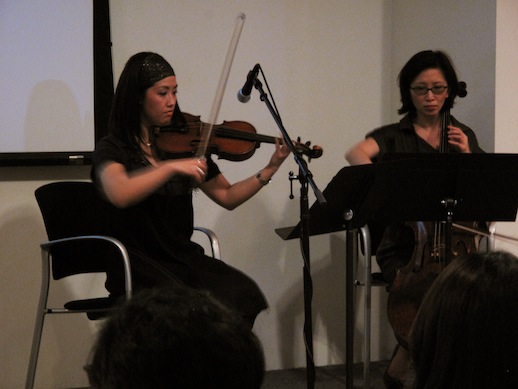 Machiko Ozawa and Li-Ling Wang playing a piece by DJ Spooky. Photo: Yu Kanbayashi