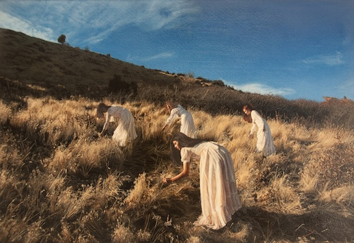 Yigal Ozeri, Untitled; Garden of the Gods, oil on paper mounted on wood, 9 x 13.5 inches, 2011