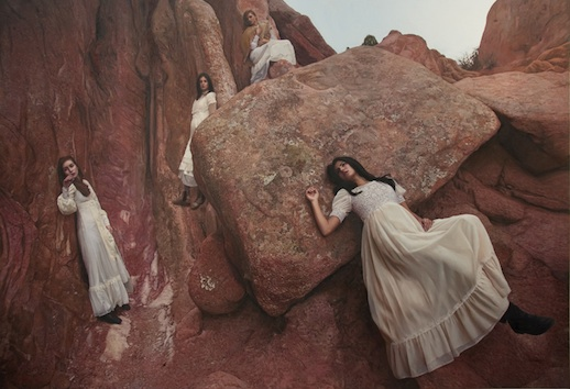 Yigal Ozeri, Untitled; Garden of the Gods, oil on canvas, 62 x 92 inches, 2011