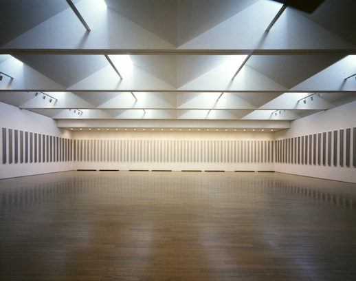 Installation view of the exhibition, 'Project for Kawamura Memorial Museum of Art' (1996) metallic paint on Bakelite mounted to plywood. 136 works (composed of 272 jointed panels) 240 x 18 cm each. Courtesy Kawamura Memorial DIC Museum of Art.
