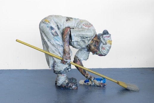 Will Kurtz 'Sweeping Woman' (2011) Wood, metal wire, newspaper, glue, tape, matte medium, bracelets, wig and broom 14 x 30 x 31 in.