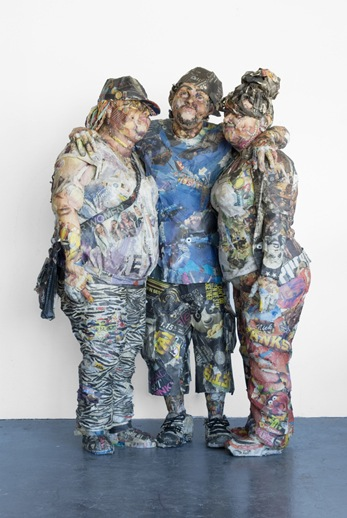 Will Kurtz 'Julio and His Sisters' (2011) Wood, metal wire, newspaper, glue, tape, matte medium shoe laces, earrings, and necklace 46 x 33 x 66 in.