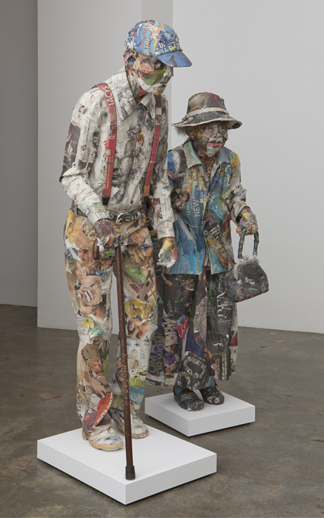 Will Kurtz 'Luther & Francis' (2011) Wood, metal wire, newspaper, glue, tape, matte medium, cane, and necklace 70 x 47 x 21 in.
