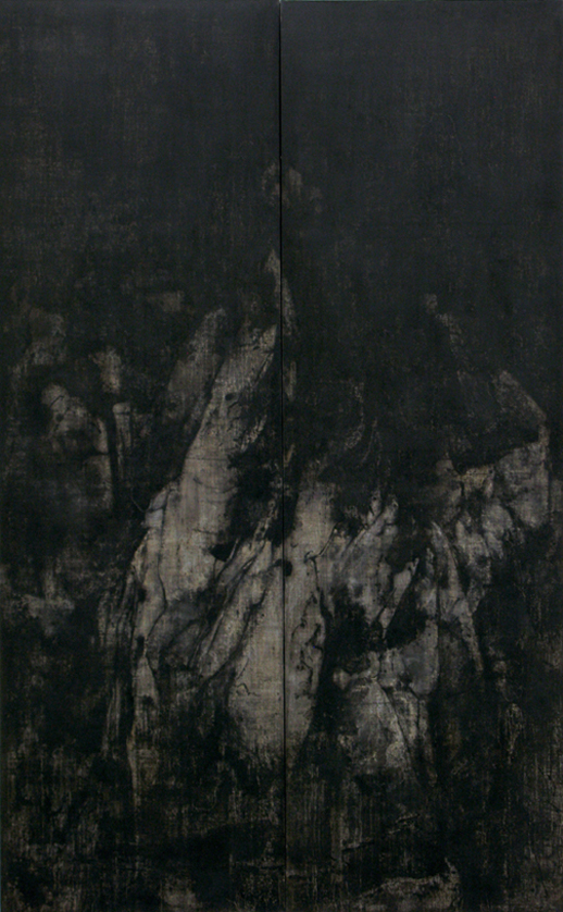 Cao Jigang 'Silence and Meditation' (2011) tempera on canvas, 126 x 39 in.