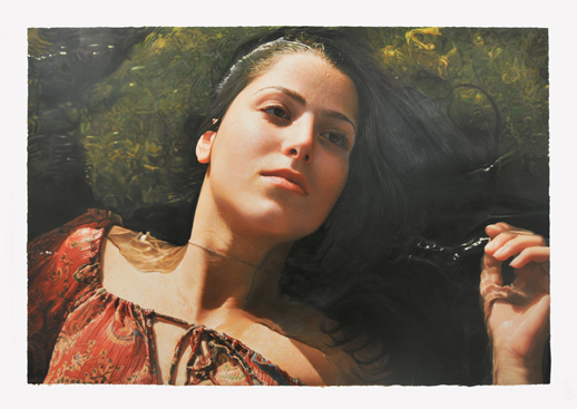 Yigal Ozeri, Untitled, Territory, oil on paper, 42 x 60 in., 2012