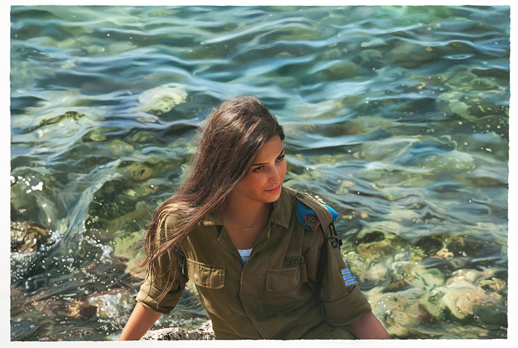 Yigal Ozeri, Untitled,  Terrritory, oil on paper, 60 x 90 in., 2012