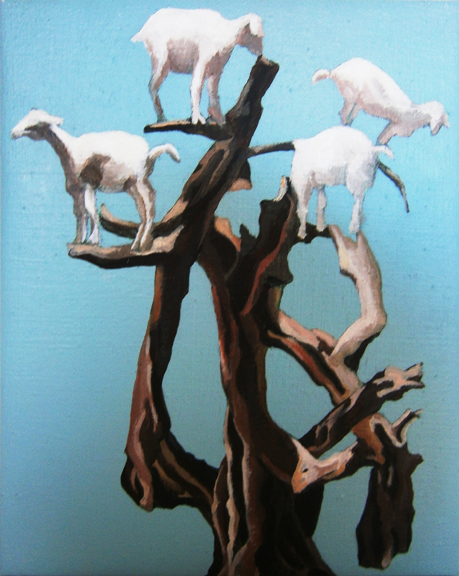 "Mary Hrbacek, ""Moroccan Goat Tree,"" acrylic on linen, 8 x 10,"" 2012"