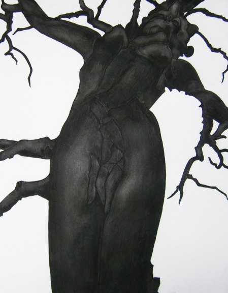 "Mary Hrbacek, ""Woman Withheld,"" charcoal on paper, 22 x 30,"" 2011"