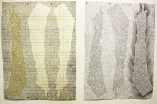 Helen Frederick 'Armored VI' (2012) Artist-made paper, transfer lithography, and piercing, 22 x 30 in each