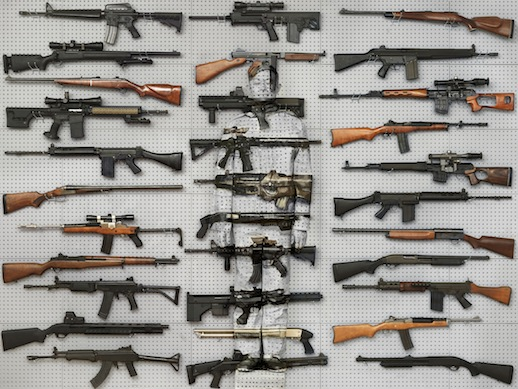 Lui Bolin 'Hiding in New York No. 9- Gun Rack' (2011) 44 1/4 x 59 in. Courtesy Eli Klein Gallery, © Liu Bolin