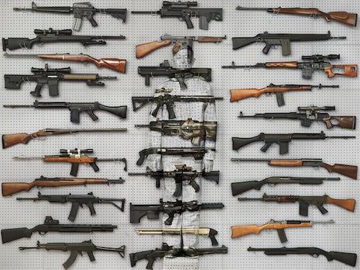 Lui Bolin 'Hiding in New York No. 9- Gun Rack' (2011) 44 1/4 x 59 in. Courtesy Eli Klein Gallery, © Liu Bolin